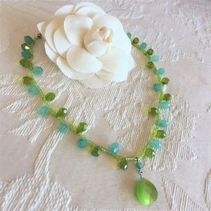 LIME & TURQUOISE Faceted Glass & Resin Necklace